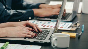 woman hands tech developer laptop